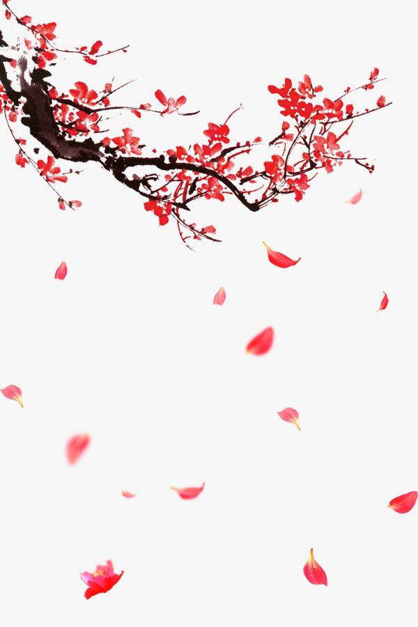 免抠元素 促销标签 红色中国风飘落梅花花瓣